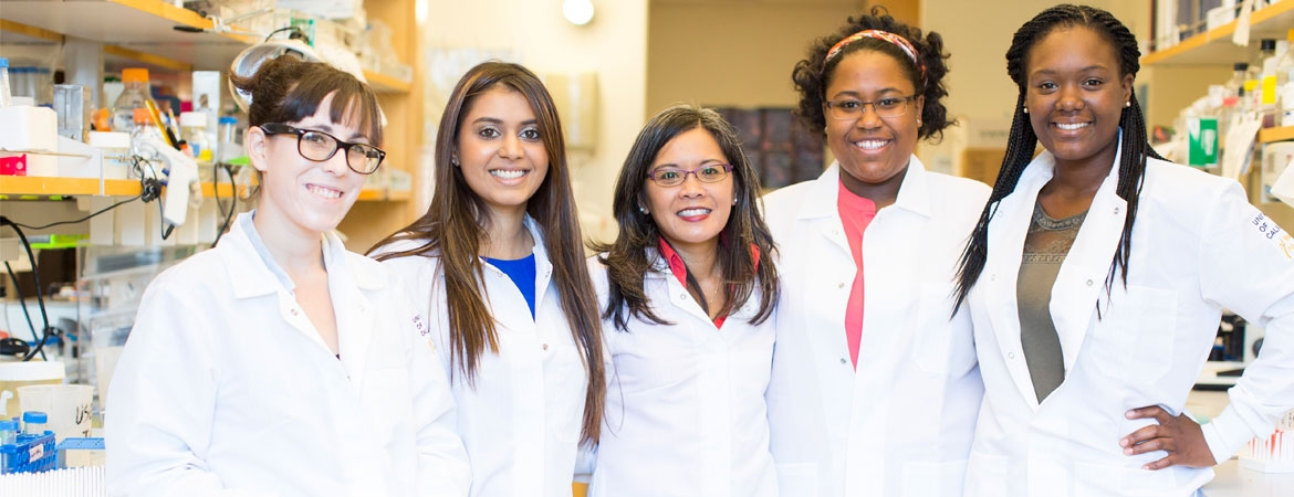 UC Merced Prof. Jennifer Manilay pictured with researchers from her lab
