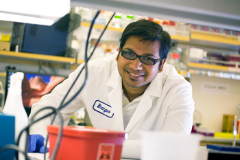 Postdoctoral scholar Bhargav Koduru in the lab