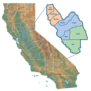 California map with San Joaquin Valley inset